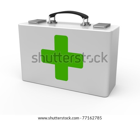 First aid kit isolated on the white background