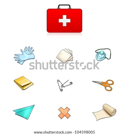 first aid kit isolated on white illustration