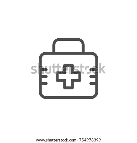 First aid kit line icon isolated on white