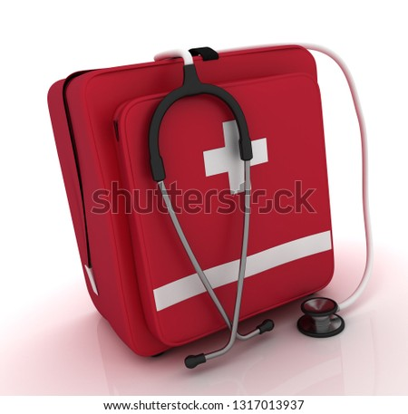 first aid kit, medical kit, isolated on white background. 3D rendering illustration