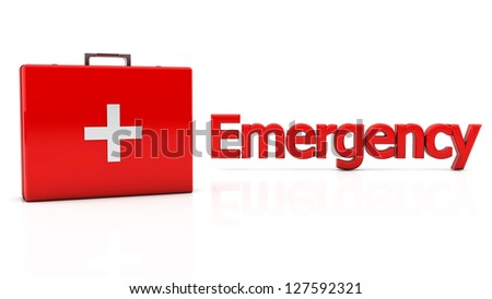 First aid kit on white background with reflection