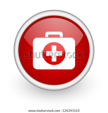 first aid kit red circle web icon on white background