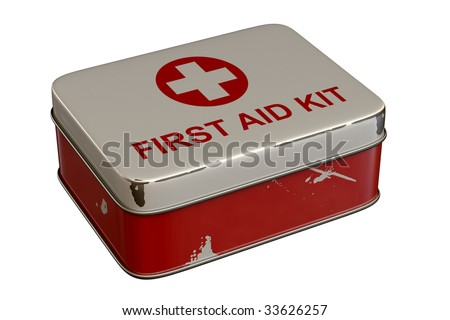 First aid kit tin isolated on white background.