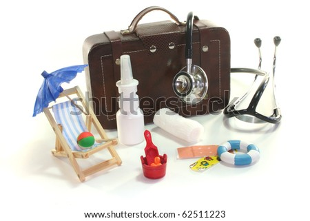 First aid kit with Bags, Stethoscope and medicines
