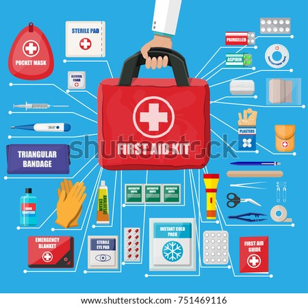 First aid kit with medical equipment and medications. Cloth bag for medicine. Healthcare, hospital and medical diagnostics. Urgency and emergency services. illustration in flat style