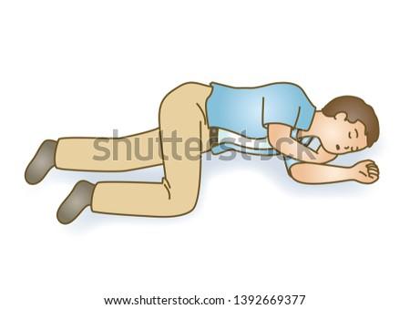First aid Lie unconscious senseless sudden illness illustration Stock photo ©