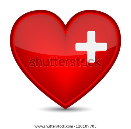 First aid medical sign on red heart shape. (Raster version)