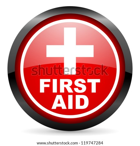 first aid round red glossy icon on white background