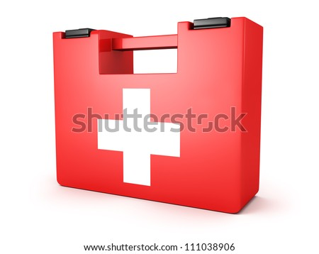 First Aids Medical Kit Box on white background