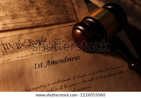 First Amendment and US Constitution text with legal gavel                                Photo stock ©