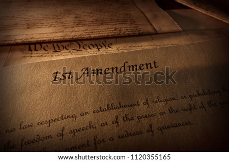 First Amendment of the US Constitution text, with other Constitution text above                                 Photo stock ©
