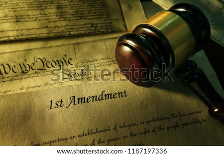 First Amendment of the US Constitution with court gavel                                Photo stock ©