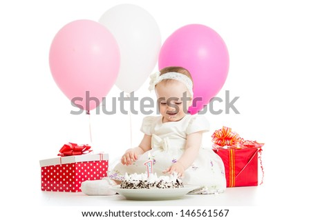 first baby girl birthday with cake