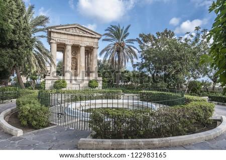 First Baronet Sir Alexander John Ball monument at Lower Baracca Gardens in Valletta, Malta