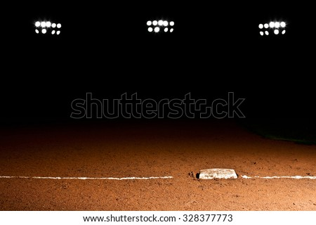First base line under the stadium lights