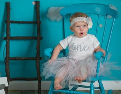 First Birthday One Year Old Girl Photo Session reach for the stars whimsical