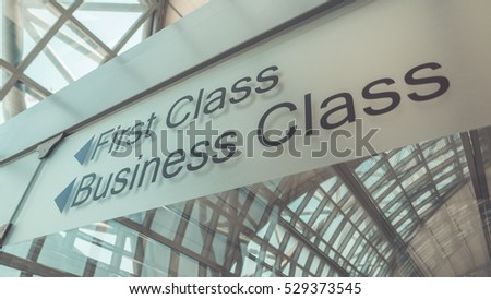 First Class and Business Class sign at the airport. (Vintage Style) ストックフォト ©
