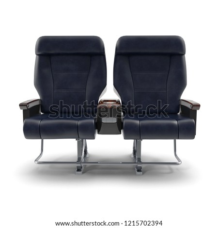 First Class Passenger Double Aircraft Seat. 3D Illustration, isolated