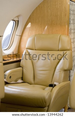 First Class Seat on Corporate Jet Waiting for a Passenger