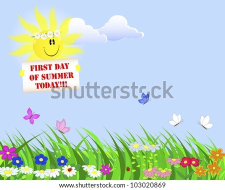 First Day of Summer. Summer landscape with a nice sun with a placard. Raster version.