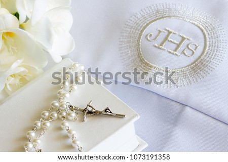 First holy communion accessories on white background  #1073191358