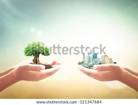 First, human hand holding big plant. Second, human hand holding the city over blurred nature background. Ecological City, World Environment Day concept. World Food Day concept.
