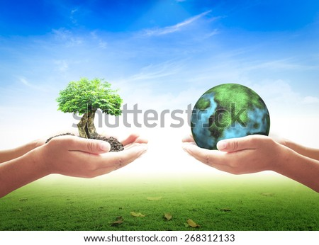 First, human hands holding big tree. Second, human hands holding planet over nature background. Ecology concept.