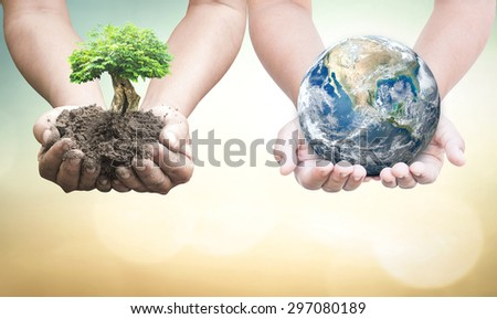 First, human hands holding medium plant or big tree. Second, human hands holding planet over blurred nature background. Ecology concept. Elements of this image furnished by NASA.