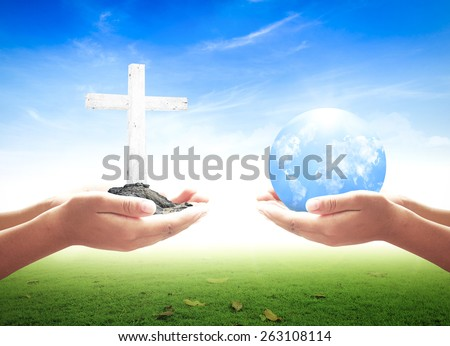 First, human hands holding the white cross. Second, human hands holding Blue planet over nature background.