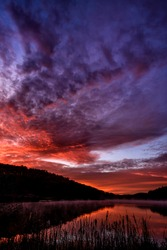 First light, autumn morning, Big Ditch Lake, Cowen, Webster County, West Virginia, USA