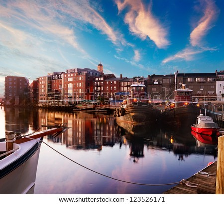 First light on the tugboats and waterfront, Piscataqua River, Portsmouth, New Hampshire