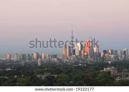 First light shines on Toronto - stock photo