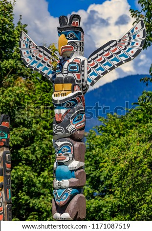 First Nations American Indian thunderbird totem pole at Brockton Point in Stanley Park in Vancouver, Canada