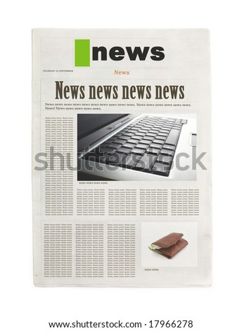 first page of newspaper on white background