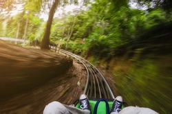 First person view of a man riding a rollercoaster cart in jungles. Motion blurred