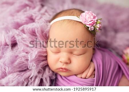 first photo session newborn baby. newborn. the child lies on a purple blanket. newborn baby girl in hydrangea flowers. photo session of a newborn