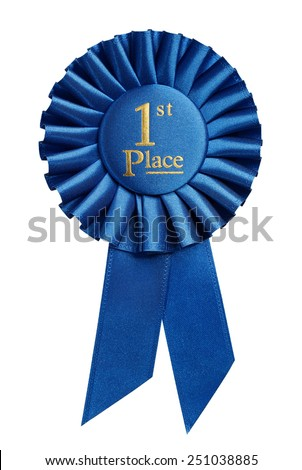 First place award, rosette isolated on white background ストックフォト ©