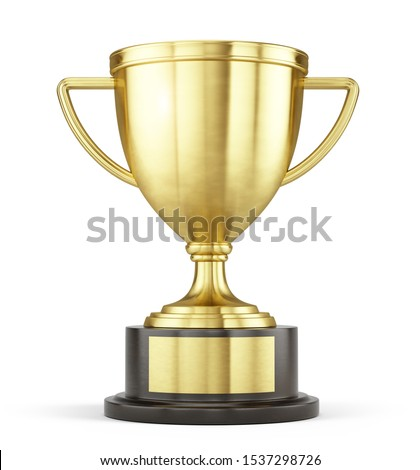 First place gold trophy cup isolated on white background. 3d rendering Stockfoto ©