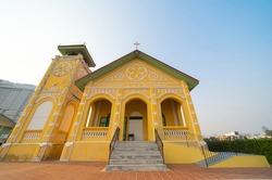 First Presbyterian Church, Samray in capital Bangkok, architecture preservation structure building landscape. Religious beliefs. Catholic religion. Jesus worship.