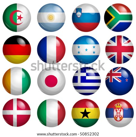 first set of 16 participants of the soccer world cup flags buttons
