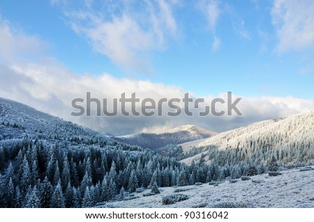 first snow in mountains, fir trees, clouds and mist with blue sky
