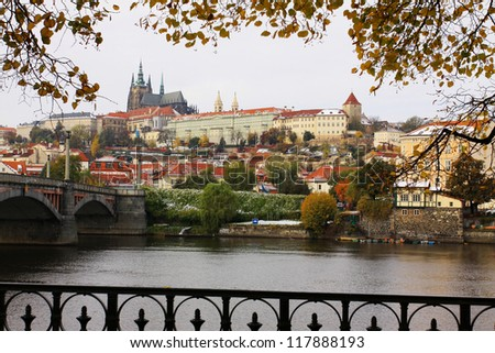 First Snow in Prague, gothic Castle above the River Vltava