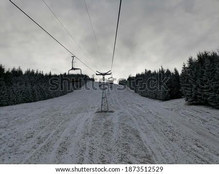 First snow on the ski slope in Borsa, Romania Stock fotó ©