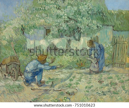 First Steps, after Millet, by Vincent Van Gogh, 1890, Dutch Post-Impressionist, oil on canvas. While a patient at the asylum in Saint-Remy, Van Gogh painted copies after realist Jean-Francois Millet