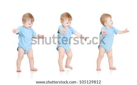 First steps of baby isolated on white background