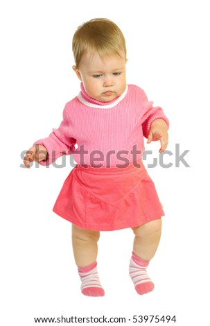 First steps of small baby in red dress