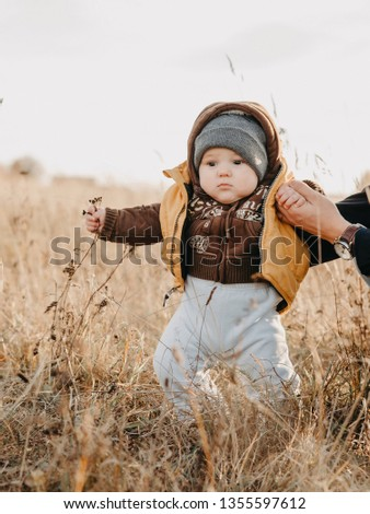 first steps of the boy child in nature in autumn. Father holding son's hands