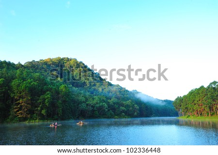 First sunshine at Pang-ung lake, Maehongson, Thailand