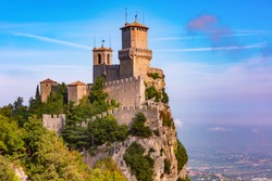 First tower Guaita fortress in the city of San Marino of the Republic of San Marino in sunny day