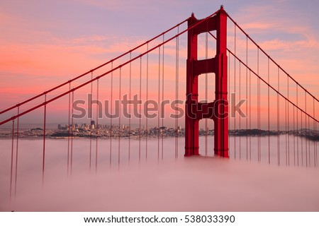 First Tower of the Golden Gate Bridge in Fog #538033390